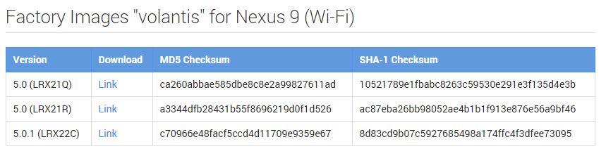 nexus 9 5.0.1