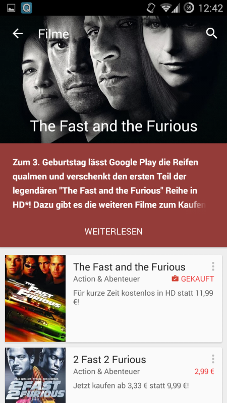 the fast and the furious gratis bei google play mobilectrl. Black Bedroom Furniture Sets. Home Design Ideas