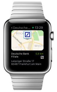 Deutsche Bank Apple Watch App Filialfinder Karte