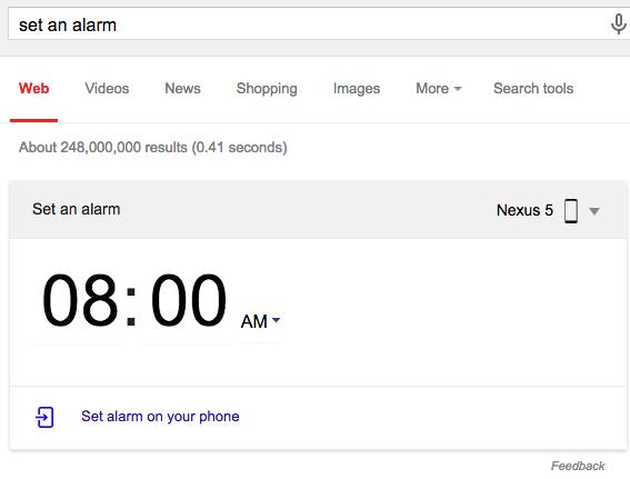 set alarm card android chrome