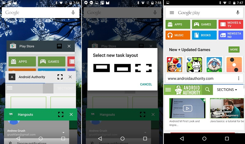 android m multi window