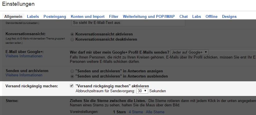 gmail versand rückgängig