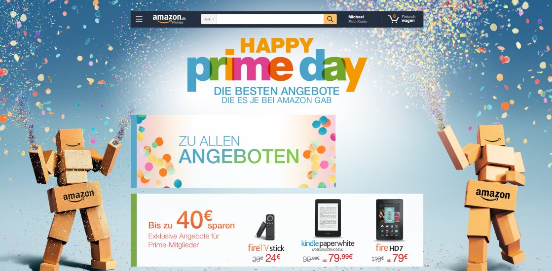 erinnerung amazon prime day angebote gestartet mobilectrl. Black Bedroom Furniture Sets. Home Design Ideas