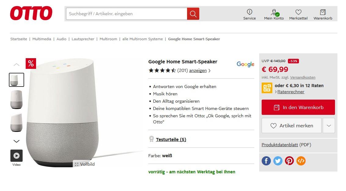 Deal Nur Heute Google Home Für 47 Bei Otto Neukunden Mobilectrl